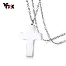 Vnox Cross Pendant Necklace for Women Men Jewelry Classical Stainless Steel Can Be Opened Lover's Promise Necklace(China)