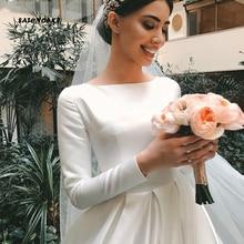Simple Vintage White Ivory Wedding Dress for Women Long Sleeves Satin Bridal Vestidos Novia Robe De Mariée Online Shop Sukienka