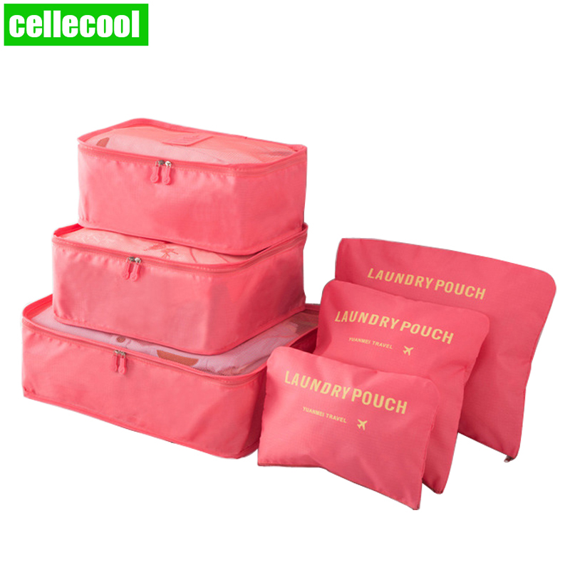 6PCs/Set Travel Storage Bag Clothes Tidy Pouch Luggage Organizer Portable Container Waterproof Storage Case Drop Travel Bag