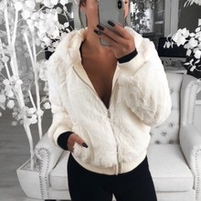 Casual Jacket Women Short Loose Zipper Plush Solid Color Long Sleeve Simple Outwear Hoodie Coat