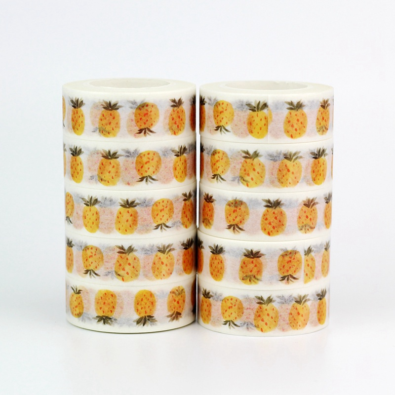 10pcs/lot Decorative Cute Pineapple Fruit Washi Tapes Paper DIY Scrapbooking Stickers Japanese Masking Tape Wholesale Stationery