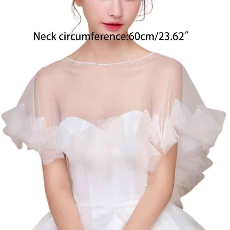 נשים חתונה קייפ Sheer טול ראפלס Trim כלה Capelet בולרו 1920S גבירותיי סוודר צוות צוואר משיכת הכתפיים לעטוף עבור שמלה כיסוי עד