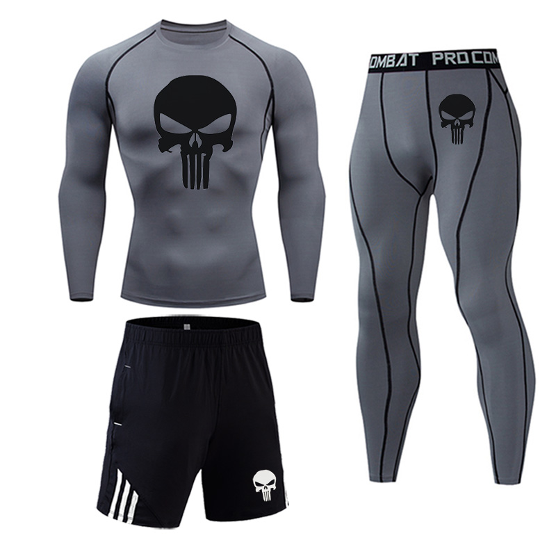 New Skull T Shirt + Fitness Leggings Compression Set Men's Full Suit Tracksuit 2/3 Piece Set Autumn Running Thermal Underwear