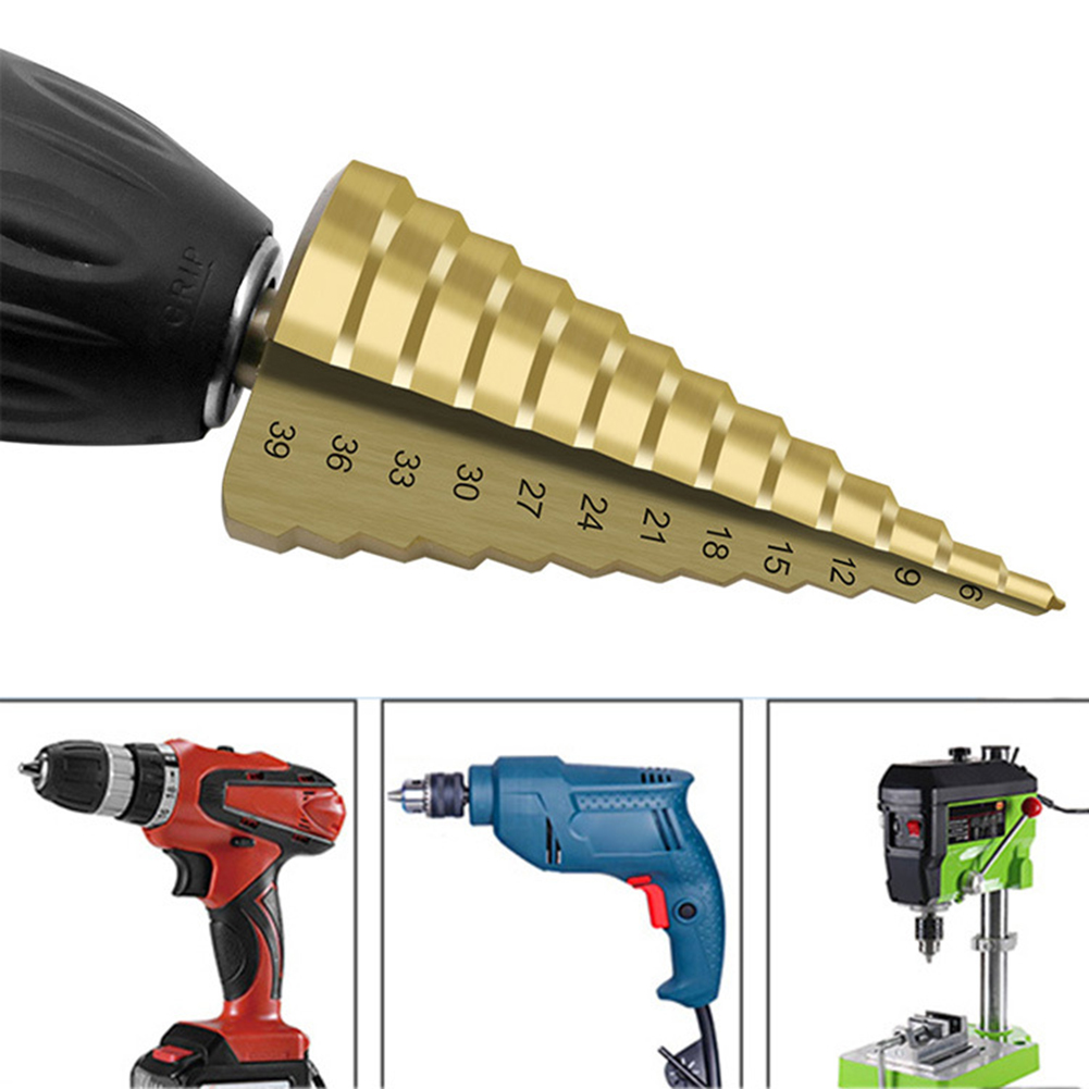 4-39mm Hss Round Handle Straight Groove Pagoda Drill Step Drill Tools Accessories High Speed Steel For Using To Cut Holes