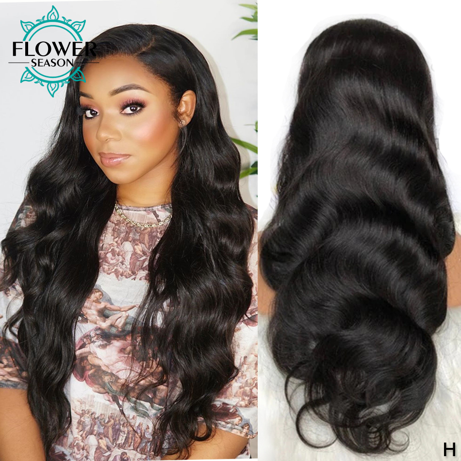 13x6 Body Wave Fake Scalp Lace Front Human Hair Wigs Brazilian Remy Lace Wig Pre Plucked Bleached Knots 150% 180% FlowerSeason