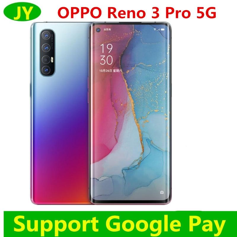 Оригинальный Oppo Рино 3 Pro 5G смарт-телефон Snapdragon 76 5G Octa Core 12G Оперативная память 256G Встроенная память 5 камеры VOOC 6,5