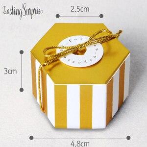 Image 3 - 5 Mini Sọc Vàng Chấm Bi Tặng Hộp Lục Giác Cưới Chocolate Hộp Gel Hộp Kẹo Làm Bánh Gói Trang Trí Tiệc Cưới