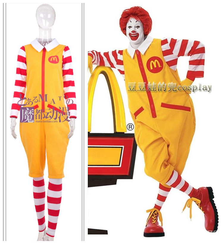 Halloween Ronald McDonald Cosplay Costumes Suit Adult Funny Outfit Christmas Uncle McDonald Role Play Clothing