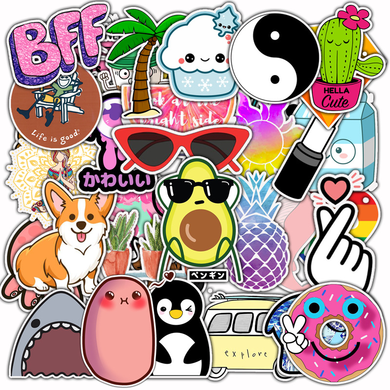 50PCS Vsco Stickers Pack for Girl Things Cartoon Sticker on Laptop Fridge Phone Skateboard Suitcase Waterproof