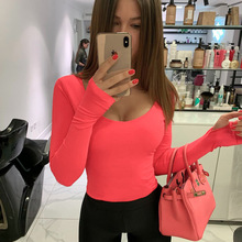 Orange Neon Bodysuit Women Long Sleeve Bodycon Sexy 2019 Autumn Winter Streetwea