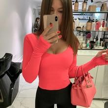 Orange Neon Bodysuit Women Long Sleeve Bodycon Sexy 2019 Aut