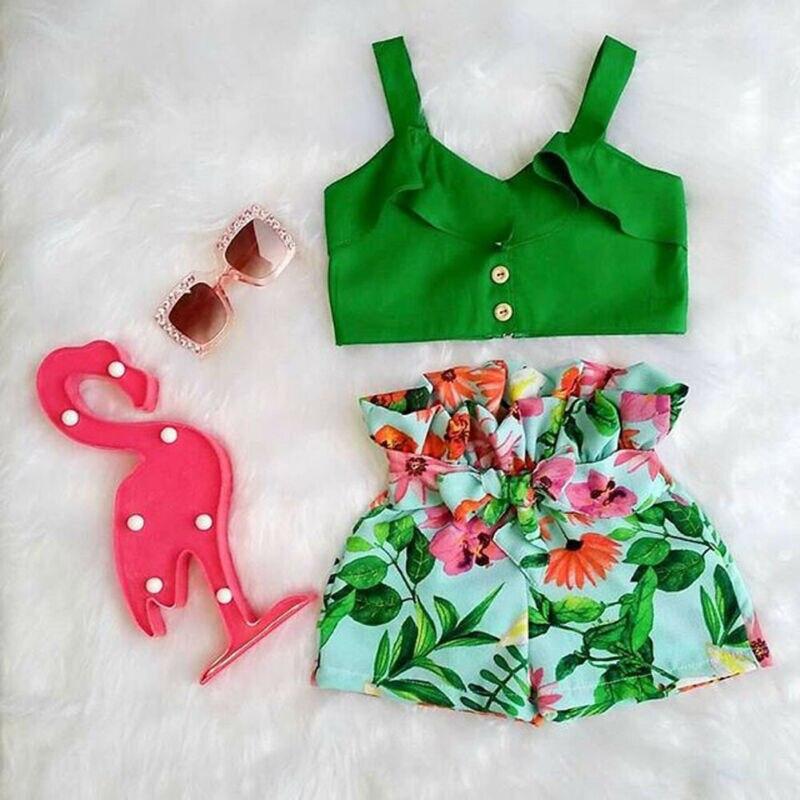 Fashion Kids Toddler Baby Girls Bikini Swimwear Ruffle Cute Floral PrintFloral Short Panties Swimsuit Beachwear High Waist