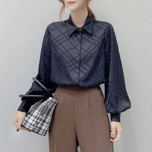 Korean OL Women Long Sleeve Blouses 2020 New Chic Turn-down Collar Female Shirts Vintage Button Plaid Blusas Mujer 5