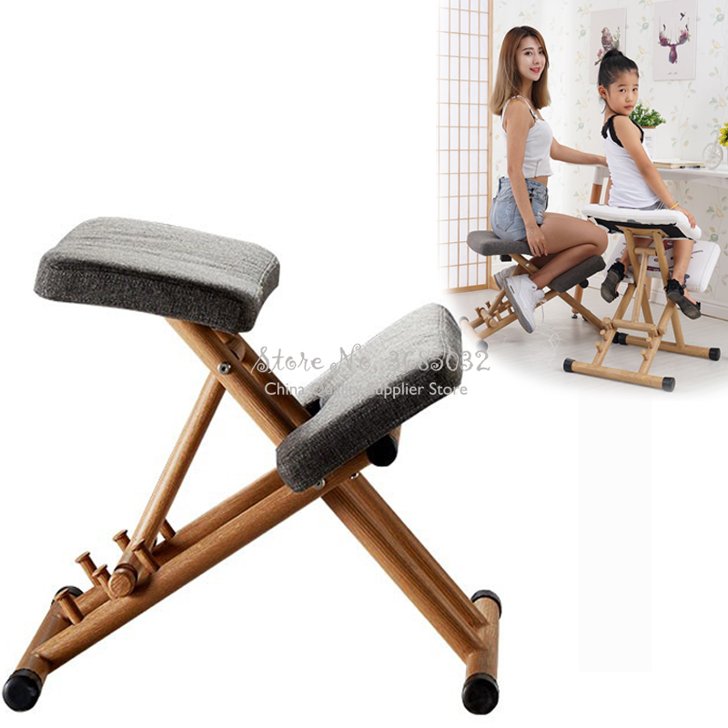 Wooden Posture Stool Ergonomic Kneeling Chair For Kids Adult Home/Office With Thick Foam Cushions Relieve Back Pressure