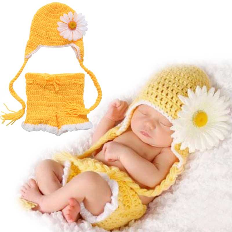 2017 New Soft Newborn  Newborn Baby Girls Boys Crochet Knit Hat Shorts Costume Photography Prop Outfits