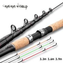 Alimentador vara de pesca telescópica fiação haste de viagem 3.3m 3.6m vara de pesca alimentador de carpa 60-180g pólo