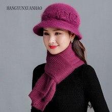 New Winter Women Rabbit Fur Hat Warm Wool Scarf Set Knitted Plush Scarves 2pcs Crochet Bonnet Cap Mother Gifts Twist Shawl