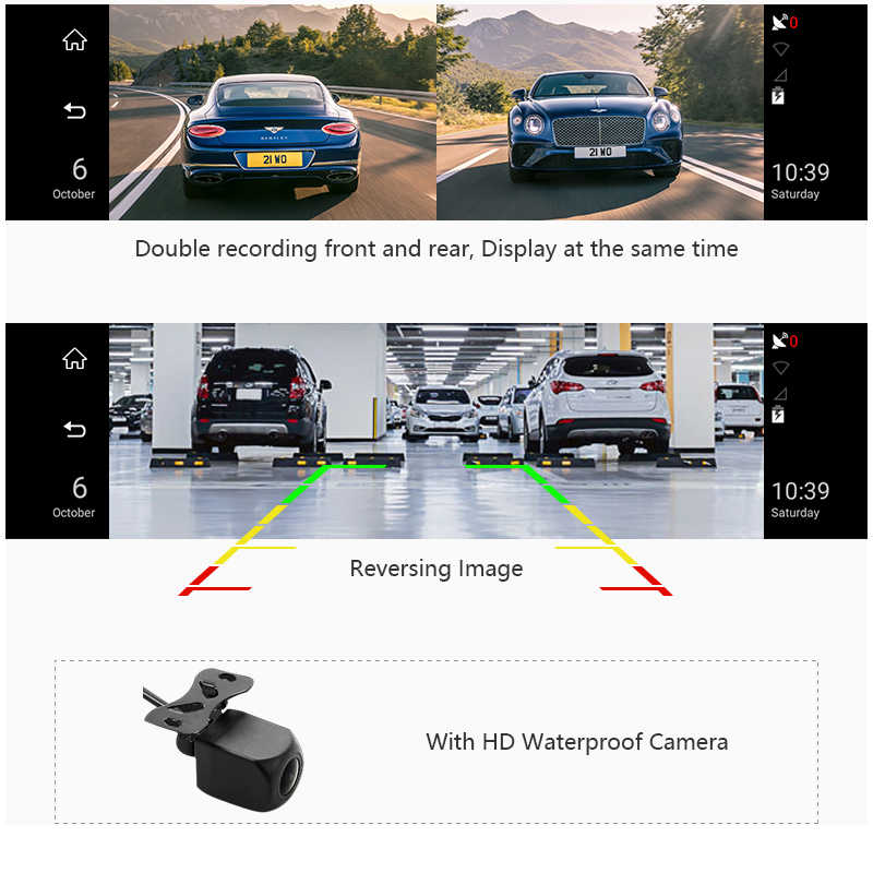 """الذكية الرؤية الخلفية مرآة 10 """"عرض سيارة كاميرا DVR الروبوت مرآة 1080P WiFi GPS والملاحة اندفاعة كام مسجل مسجل فيديو"""