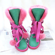 Women Winter Snow-Boots Sheepskin High-Warm Genuine Fur Wool New 100%Natural
