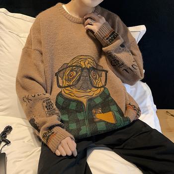 Sweter męski nadruk kreskówkowy sweter zabawny Anime sweter z dzianiny sweter męski hipsterskie w stylu Streetwear luźna moda sweter męski 2020 tanie i dobre opinie JOYSWAMM CN (pochodzenie) XJ-SW003 Cartoon O-neck Poliester Akrylowe Poliamid Swetry PATTERN Japan style Pełna REGULAR