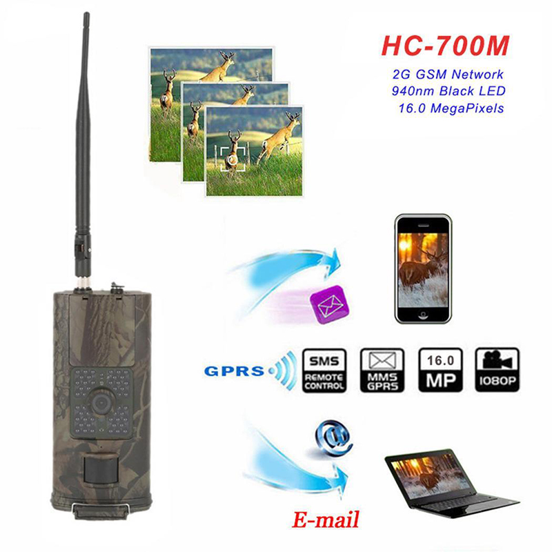 7In1 HC700M Hunting Camera Night Vision Wildlife Trail Camera HD 1080P 16MP  IP65  Waterproof GSM Network 0.5 Trigger Speed Came