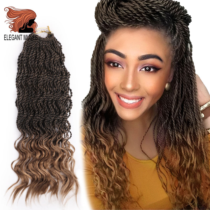 ELEGANT MUSES Curly Senegalese Twists Crochet Braids 16inch Synthetic Crochet Hair Extensions Senegalese Twist Braid 35strands