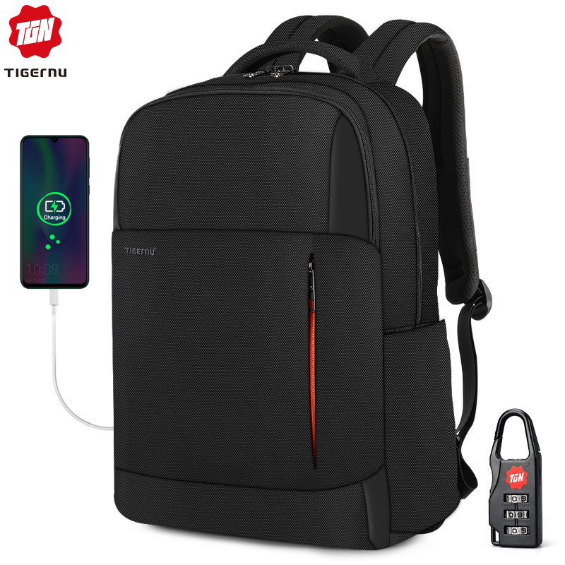 2020 Tigernu New Fashion RFID Anti Theft Men 15.6 inch Laptop Backpack USB Charging Male