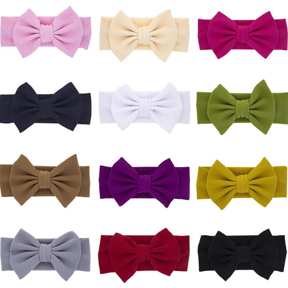 Colorful Solid Bow Baby Headbands For Girls Handmade Soft Baby Hairband Elastic Headband Newborn Daily Life Hair Accessories