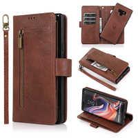 Zipper Destacável Flip Case Carteira de Couro Para Samsung Nota 10 10 + 9 8 A70 A50 A40 A30 A20 A10 A6 A7 S10 S8 S9 Plus S7 Borda Caso
