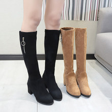 Brand Women's Shoes Round Toe Lady Boots Lace Up Clogs Platform Chunky Heel Sexy Thigh High Heels High Sexy Bootee Woman 2019(China)
