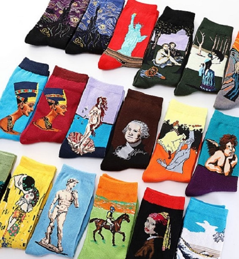 2020 New Arrival Unisex Socks Men's Short Socks World Famous Oil Painting Socks Casual Socks Funny Socks Men's Crew Socks