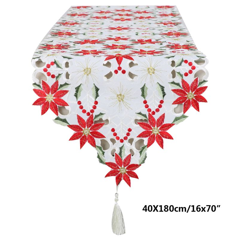 Christmas Embroidered Table Runners Poinsettia Holly Leaf Table Linens 16 X 70in