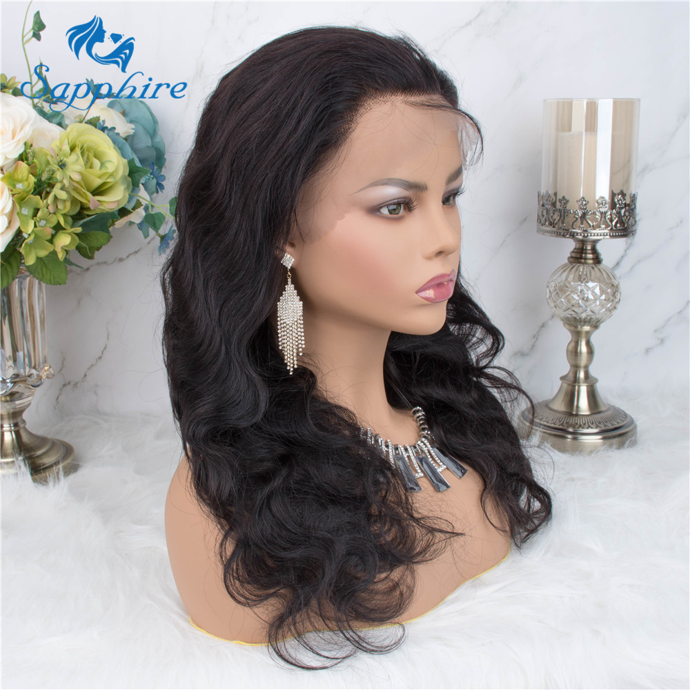 Sapphire Lace Frontal Human Hair Wigs Pre Plucked Brazilian Body Wave Wigs For Women Bleached Knots 8-22inches Lace Frontal Wigs