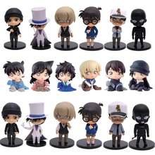 Detetive conan edogawa konan kaitou kiddo hattori heiji furuya rei akai shuuichi q versão figuras pvc brinquedos figurais 6 pçs/set