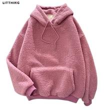 LITTHING Autumn Winter Thick Warm Coat Velvet Cashmere Women