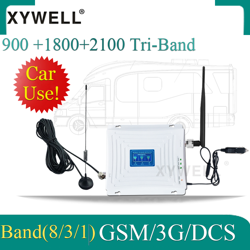 Car Use 900/1800/2100 Tri-Band GSM DCS WCDMA 4G Mobile Signal Booster 900 1800 2100 Cellular Amplifier 2g 3g 4g Signal Repeater