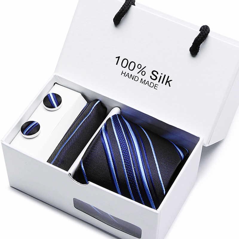 7.5 Centimetri di Lusso 100% Degli Uomini di Seta Cravatta Pocket Piazza Cravatta di Seta Set Contenitore di Imballaggio Del Regalo Dei Gemelli Fazzoletto da Festa di Nozze Mens cravatte