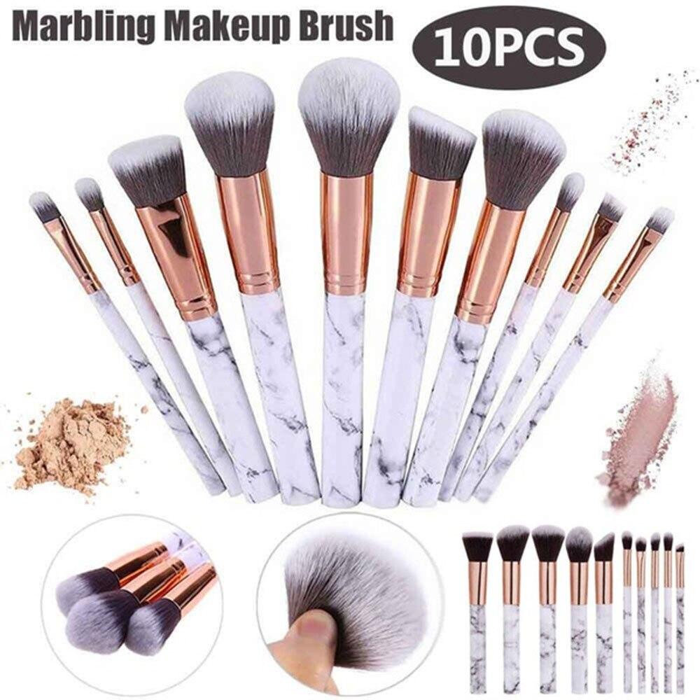 10 Pcs Professional Makeup Brush Set Tools Powder Foundation Eyeshadow Lip Eyeliner Blush Marble Face Makeup Brushes