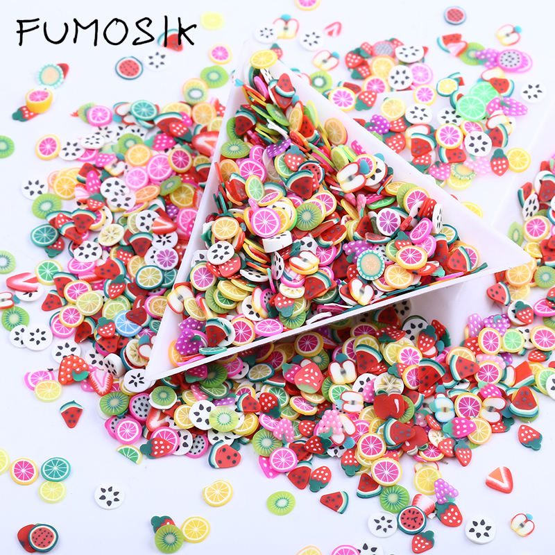 1000 Pcs/ Bag 19 Style 3D Polymer Clay Tiny Fimo Fruit Slices Wheel Nail Art DIY Designs Wheel Nail Art Decorations