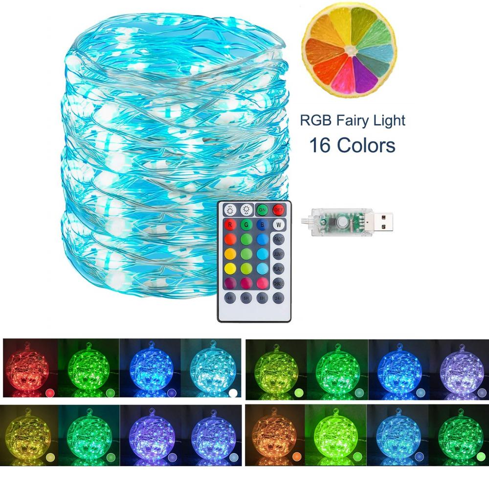 16 Colors Changing Starry String Lights USB 5V 5M10M Remote Control LED Twinkle Lights For Bedroom Party  Wedding Xmas Deco