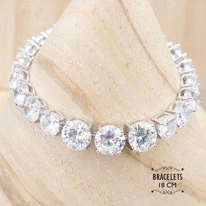 Image 2 - Женские Ювелирные наборы из серебра 925 пробы с белым цирконием, серьги с камнями, ожерелье, серьги, кольца, браслеты, подарочная коробка