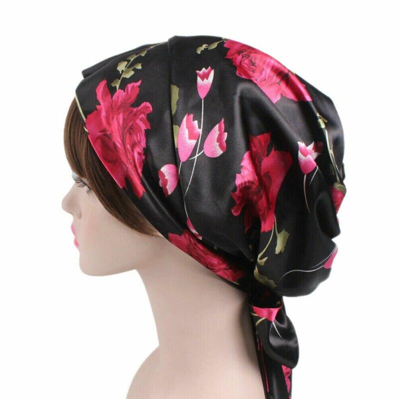Women Hats Ladies Satin Bow Headscarf Turban Hijab Soft Sleeping Bonnet Hair Wrap Women Cap /BY
