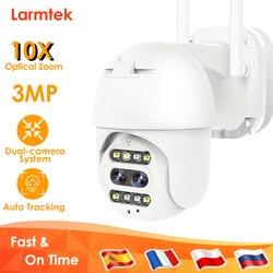 3MP IP Камера Wi-Fi безопасности CCTV Камера с двумя объективами Цвет Ночное видение 10x оптическим зумом отслеживания IP66 открытый Камеры Скрытого ...