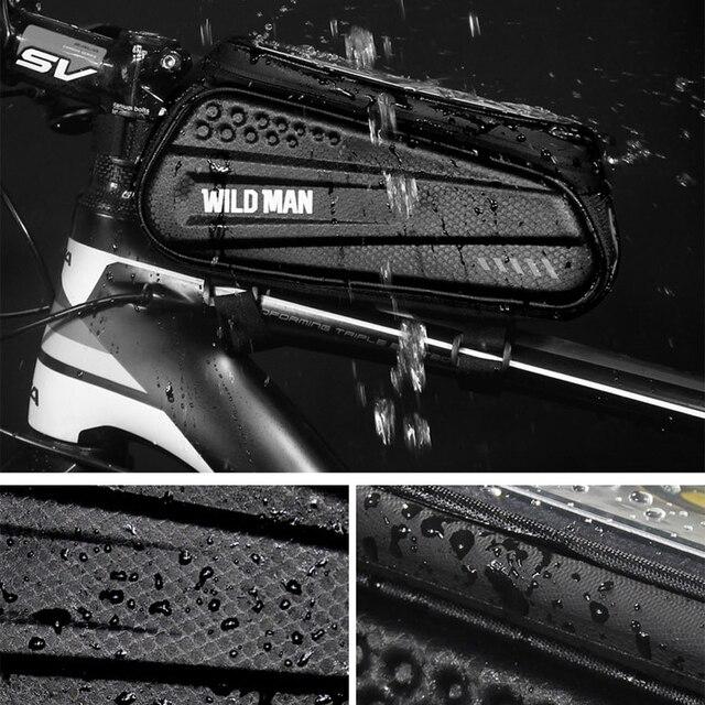 Wild man bolsa de bicicleta à prova de chuva, quadro frontal superior, refletor 6.5in, estojo para celular, touchscreen, acessórios para bicicleta mtb 5