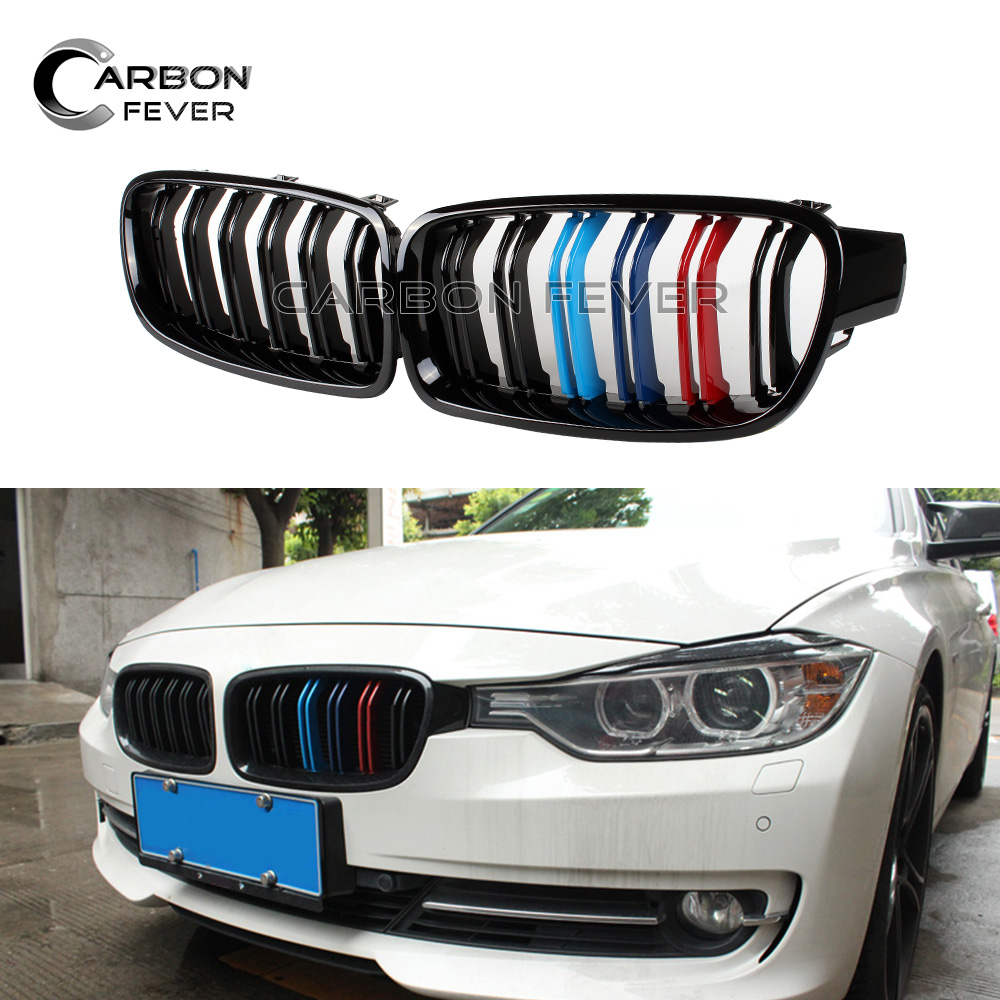 <font><b>F30</b></font> F31 Black front Grille Kidney <font><b>Grill</b></font> for BMW 3 series 2012 to 2018 image