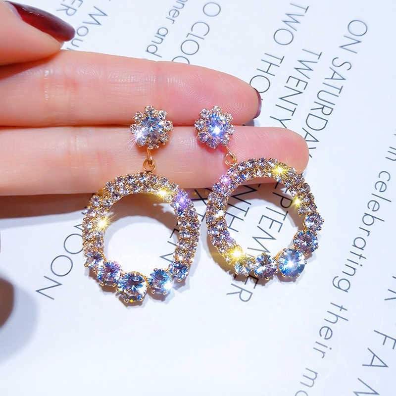 2020 Crystal Drop Oorbellen Luxe Shining Goud Zilver Kleur Ronde Rhinestone Dangle Earring Voor Vrouwen Wedding Party Jood