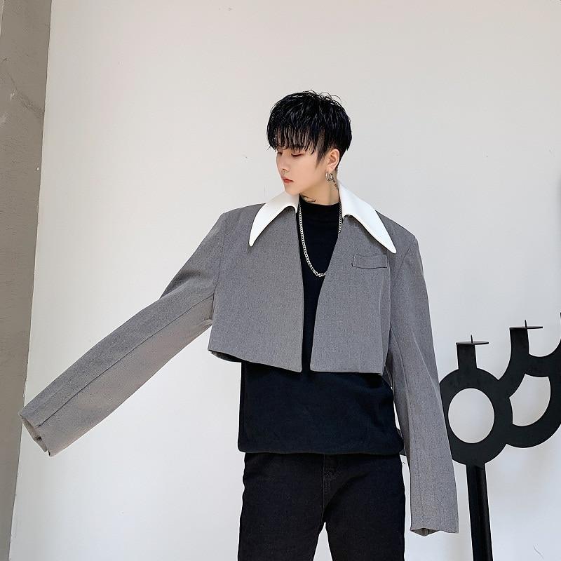 Men Loose Casual Short Style Suit Jacket Blazer Overcoat Male Women Streetwear Vintage Coat Outerwear Stage Clothes