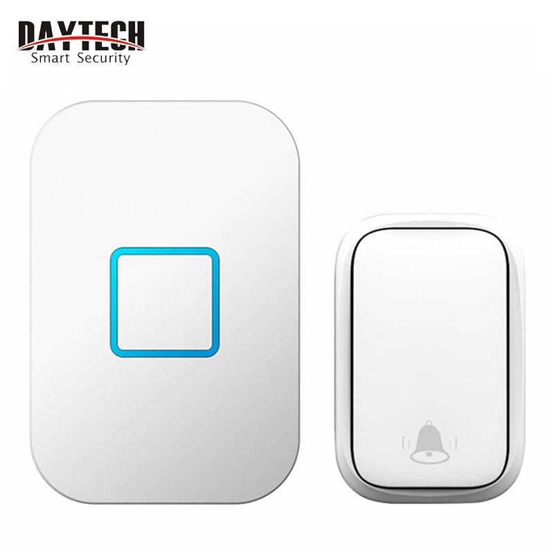 DAYTECH Wireless Doorbell DB09 Self Powered  Door Bell Waterproof Button 150M Range Smart Door Chime For Home/Office (DB09WH)
