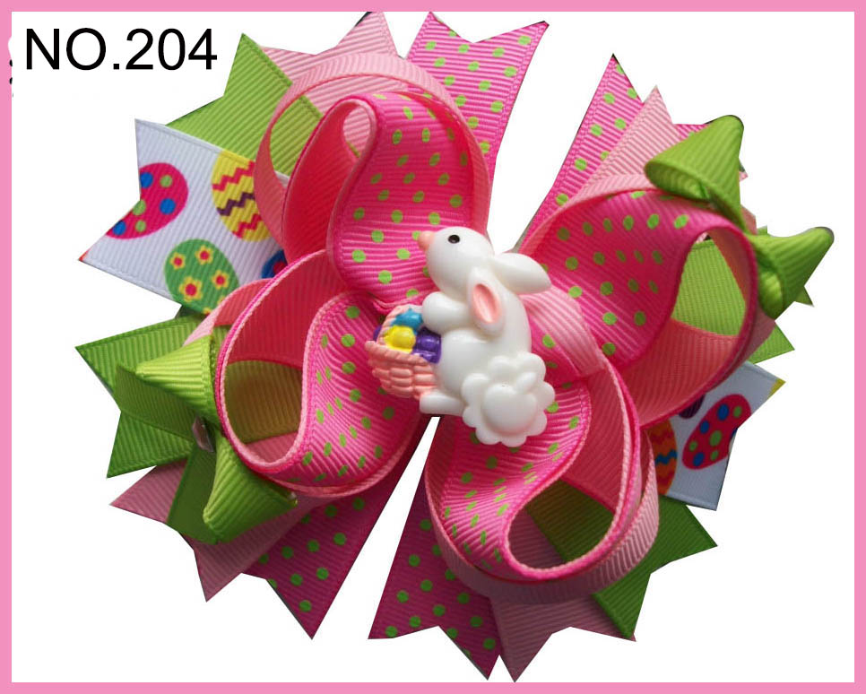 Free Shipping 12pcs D Group Easter   Hair Bows Bunny Hair Clips Jelly Bean   Hair Bow Easter Chick Hair Clips Girl   Hair Acces