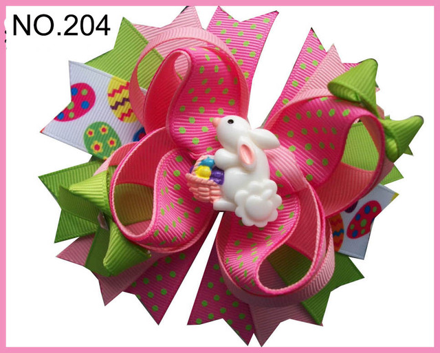 free shipping 12pcs D group Easter   hair bows Bunny hair clips Jelly Bean   Hair Bow Easter Chick hair clips girl   hair acces